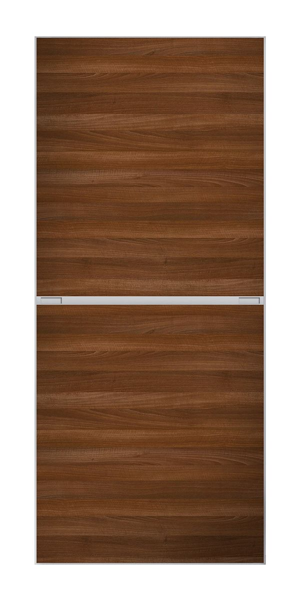 2 Panel Minimalist Door Walnut Finish