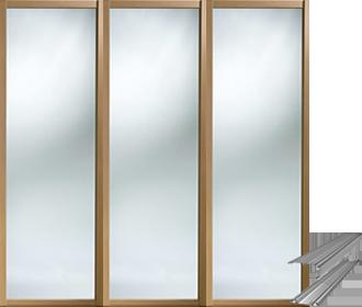 Shaker Framed Oak Effect Mirror Sliding Wardrobe Door System