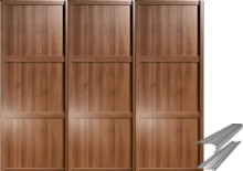 Shaker Style Walnut Frame Panel Door & Track Set to suit an opening width of 2692mm