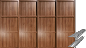 SHAKER WALNUT PANEL SLIDING WARDROBE DOORS