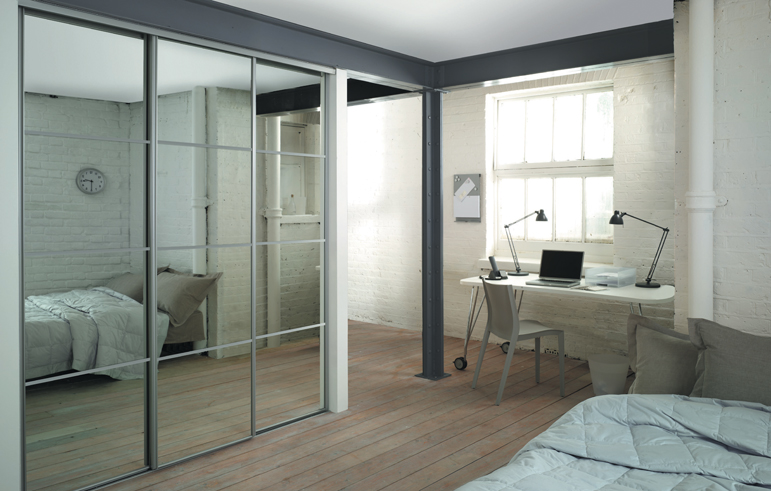 4 Silver Frame Mirror Panel Sliding Wardrobe Doors And Track To Fit An Opening Width Of 2387mm