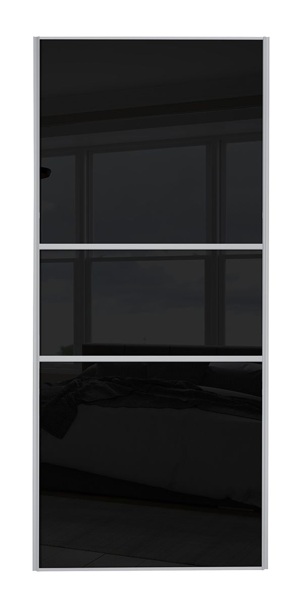 Classic Fineline Silver Frame Black Glass Door
