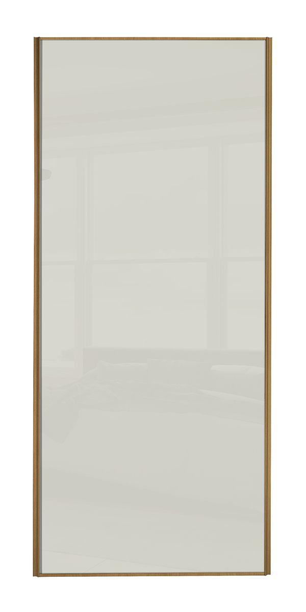 Classic Single panel Oak frame Soft white glass panel door
