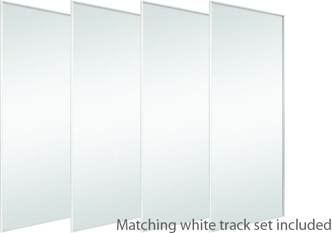 4 White Frame Mirror Doors & Track Set