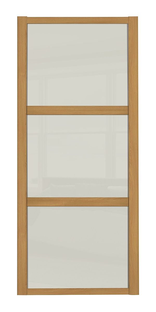 Shaker Sliding Wardrobe Door Oak Frame 3 Soft White Panels
