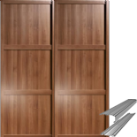 Shaker Style Walnut Panel Door & Track Set to suit an opening width of 1498mm