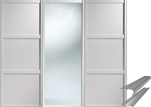 Shaker Style White 2 Panel & 1 Mirror Door & Track Set to suit an opening width of 1778mm