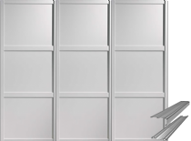 Shaker Style White Frame Panel Door & Track Set to suit an opening width of 2692mm