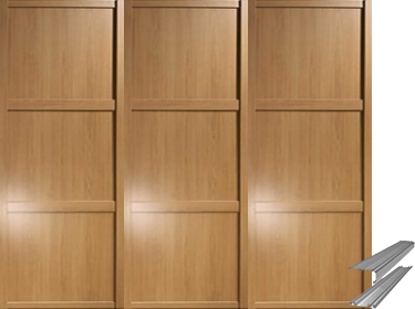 Shaker Framed Oak Effect Mirror Sliding Wardrobe Door System