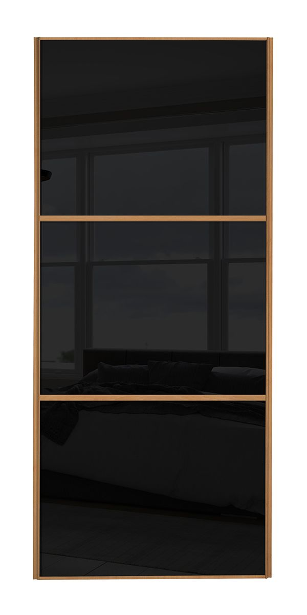 Wideline Sliding Wardrobe Door Beech Frame Black Glass