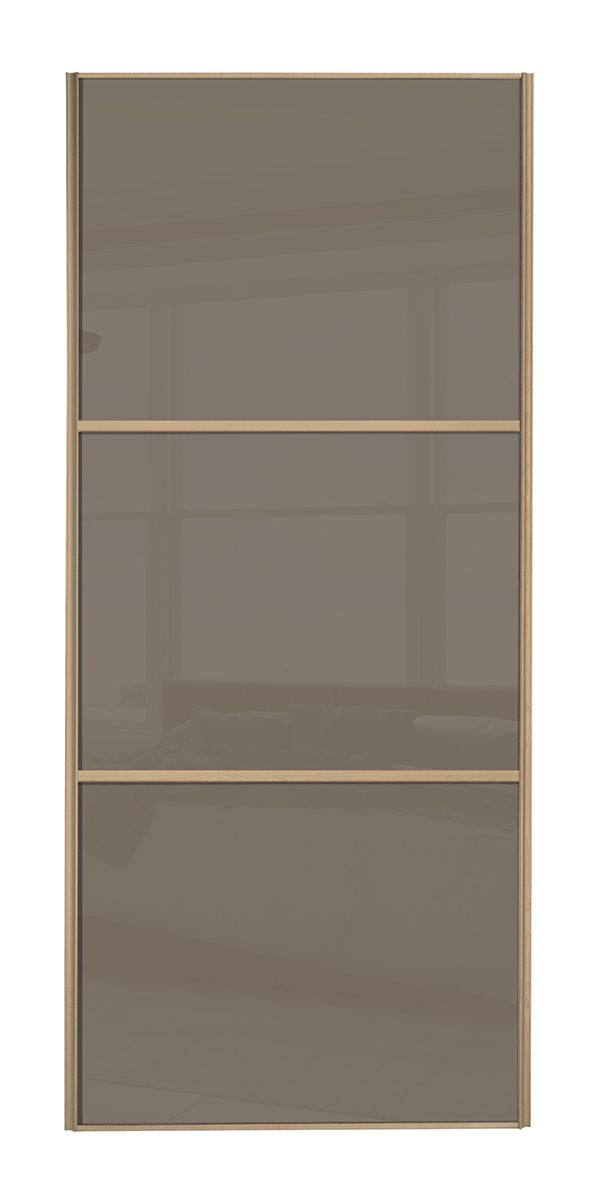 Wideline Sliding Wardrobe Door Maple Frame Cappuccino Glass